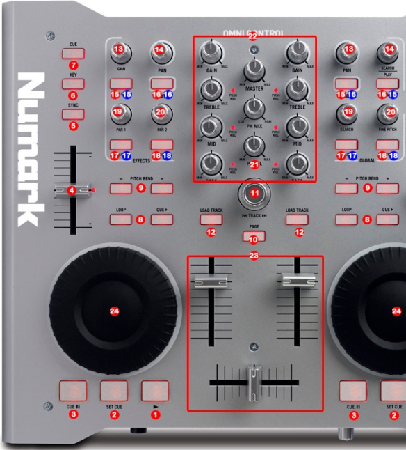 DJ ProMixer Numark Omni control MIDI map detail