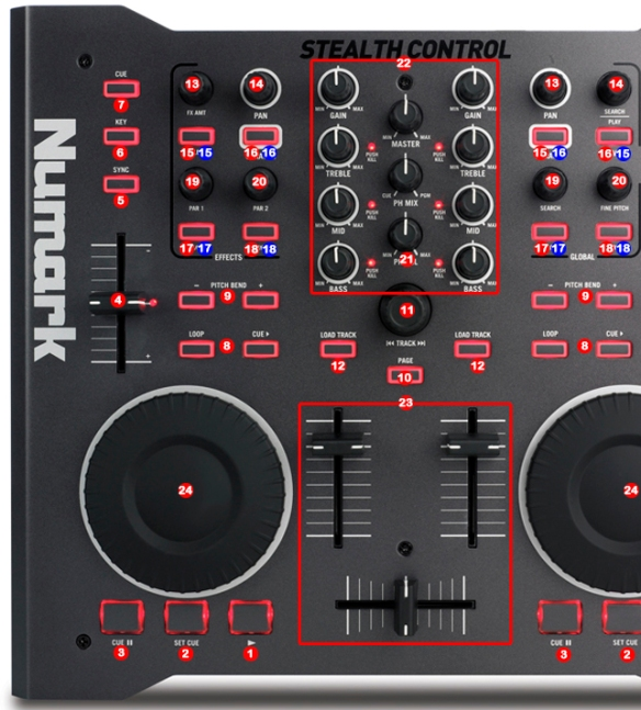 Numark Stealth Control MIDI map detail