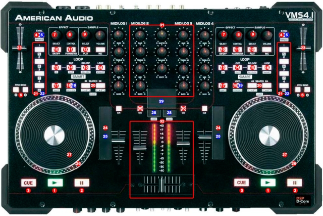 DJ ProMixer American Audio VMS 41 map1