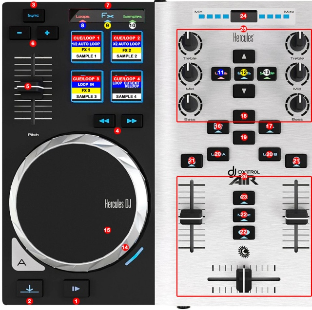 DJ ProMixer Hercules DJ Control Air S map detail