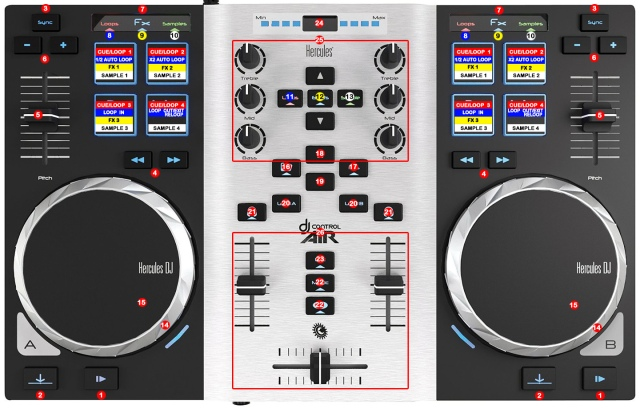 DJ ProMixer Hercules DJ Control Air S map