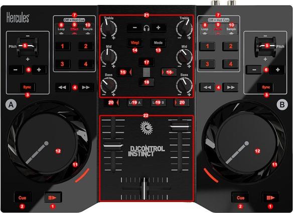 DJ ProMixer Hercules DJ Control Instinct map