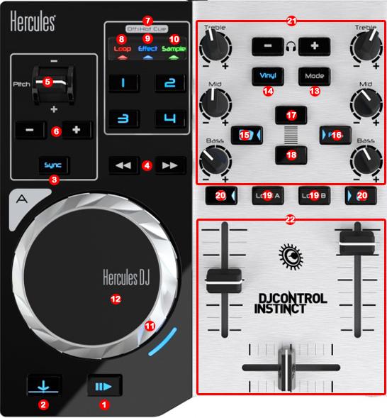DJ ProMixer Hercules DJ Control Instinct S map detail