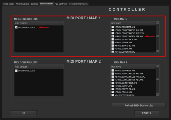 DJ ProMixer MIDI Hercules DJ Control Air