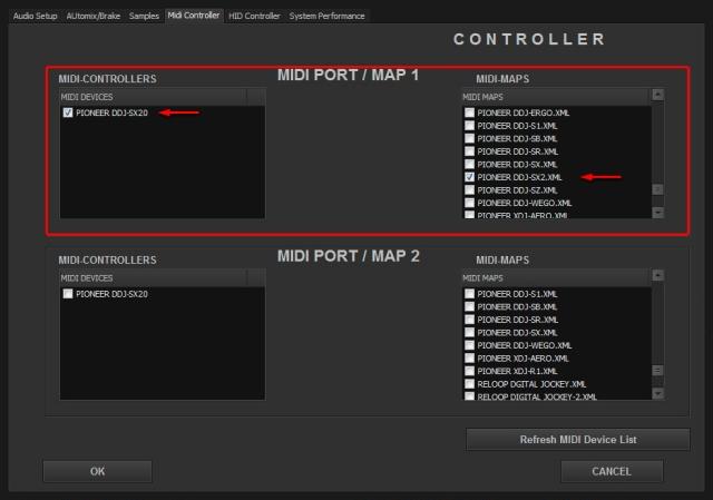 DJ ProMixer Pioneer DDJ-SX2_MIDI