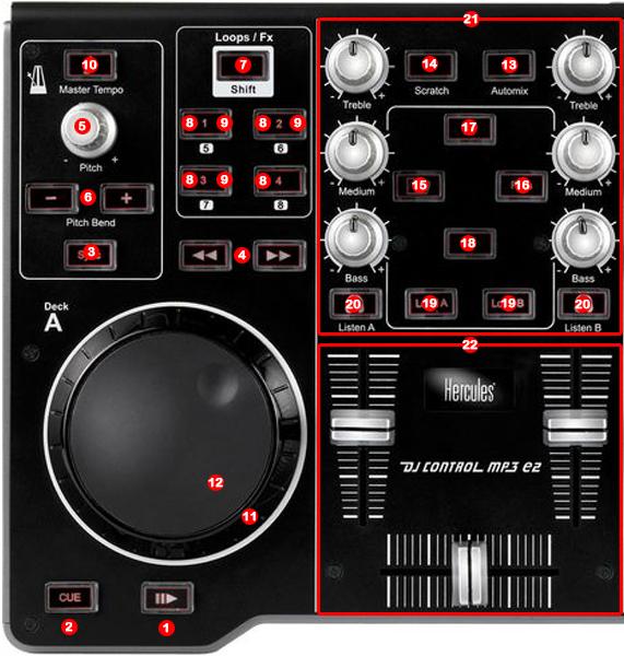 Hercules DJ Control E2 map detail