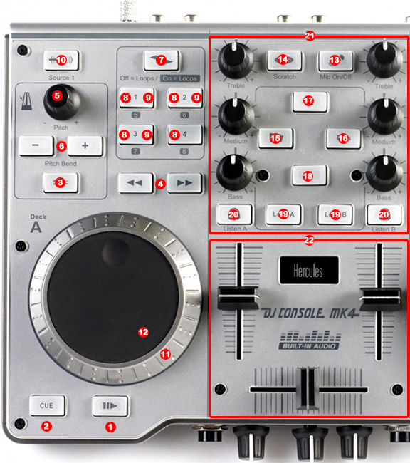 DJ ProMixer Hercules DJ Control MK4 map detail