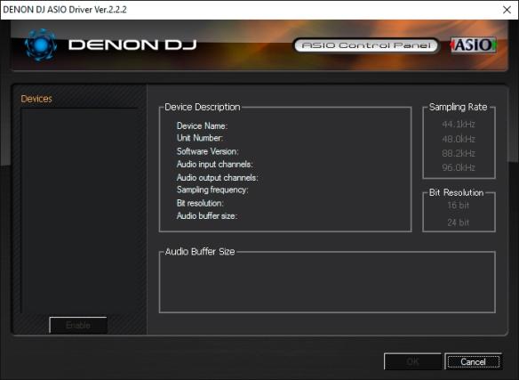 DJ ProMixer Denon ASIO Panel