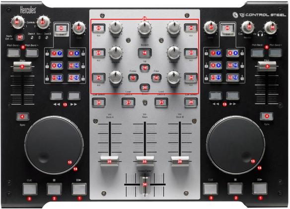 DJ ProMixer Hercules DJ Console Steel map
