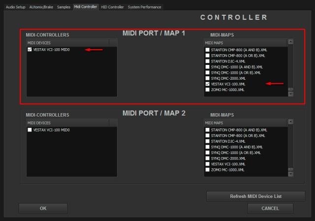 DJ ProMixer MIDI Vestax VCI-100